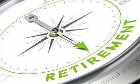 image of retirement  - Compass with needle pointing the word retirement - JPG