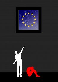 picture of safe haven  - Concept sign of a desperate refugee longing for peace and liberty in the EU - JPG