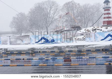 Winter Swimming Pool Snowfall