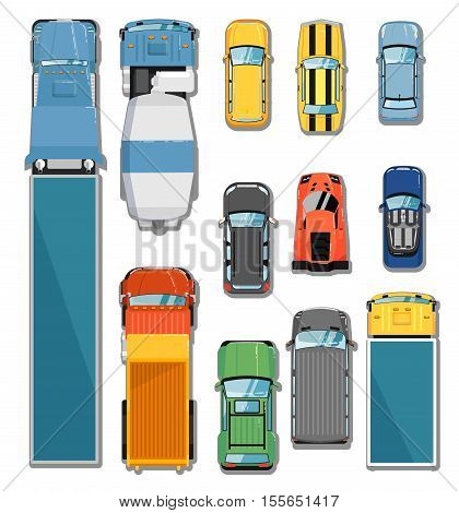 poster of Car and truck top view vector illustration. Commercial freight truck, tipper, concrete mixer, city car, cabriolet car, hatchback car, sports car, muscle car, commercial van, suv in flat. Car icon. Car symbol. Cartoon car vector. Car isolated. Set of car.