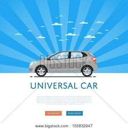 poster of City car isolated on rays background. Vector hatchback car. Vehicles cartoon car isolated. Hatchback car side view isolated. Urban car or family car cartoon style. Modern car model. Hatchback car icon. For car rental service or car sale poster. Car ad.