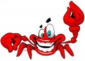 picture of crab  - Cartoon illustration of happy crab on a white background - JPG