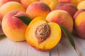 Juicy And Ripe Peach Fruits poster