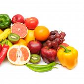 picture of fruits vegetables  - fresh fruits and vegetables isolated on a white background - JPG