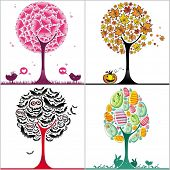 vector set of colorful stylized trees: Valentine's day heart tree, autumnal tree with fallen leaves,