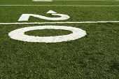 Twenty yard line of american football field