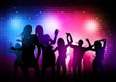 Party People Background - Vector dancing young people.