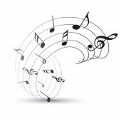 stock photo of musical note  - vector music note background illustration - JPG