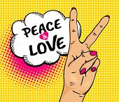 Love And Peace. Pop Art Background With Female Hand With Victory Sign And Speech Bubble . Vector Col poster