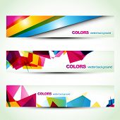 picture of colorful banner  - abstract colorful banner set designs - JPG