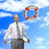 Young successful business man and a lifeline against the blue sky. poster