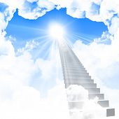 stock photo of stairway to heaven  - White ladder extending to a bright sky against a background of green grass - JPG