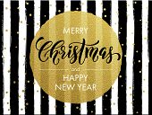 Merry Christmas gold glitter greeting card. Vector black stripes, golden glittering circle ball orna poster