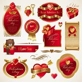 stock photo of corazon  - Valentines vector set with ornate golden luxury frames - JPG
