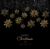 Christmas And New Year Gold Snow Decoration Card poster