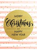 Merry Christmas gold glitter greeting card. Vector pink, white stripes, golden glittering circle bal poster