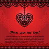 image of eyeleteer  - vector romantic card with lace heart - JPG