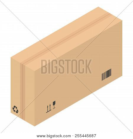 poster of Packed Carton Box Icon. Isometric Of Packed Carton Box Icon For Web Design Isolated On White Backgro