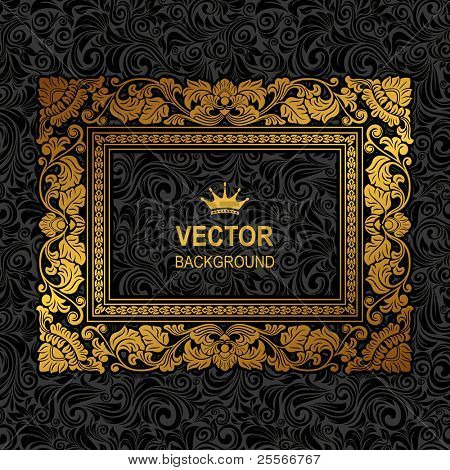 Royal Gold Picture Frame On The Dark Wallpaper Poster