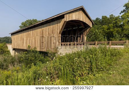 Brown Wooden Covered Bridge A