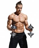Strong Man Doing Exercises With Dumbbells At Biceps. Photo Of Young Man With Good Physique Isolated  poster