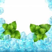 Realistic Ice Cubes And Mint Isolated On White Background. Vector Food And Drink Ads Template Illust poster