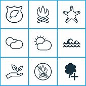 Ecology Icons Set With Cloudy Weather, Protect Nature, Protect Ecology And Other Cloud Cumulus Eleme poster