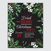 Invitation Card For A Christmas Party. Design Template With Xmas Hand-drawn Graphic Illustrations. G poster