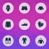 Clothes Icons Set With Pullover, Hoodie, Glove And Other Home Shoes Elements. Isolated Vector Illust poster