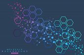 Hexagonal Abstract Background. Big Data Visualization. Global Network Connection. Medical, Technolog poster