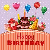 Happy Birthday Items Concept. Cartoon Illustration Of Happy Birthday Items Concept For Web poster
