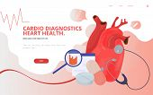 Cardio Or Cardiovascular Heart Diagnostics Concept Vector Illustration. Heart Tests Or Cardiology Di poster