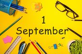 1st September. Image Of September 1, Calendar On Yellow Background With Office Supplies. Back To Sch poster