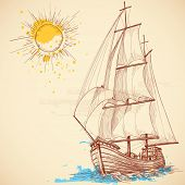 stock photo of galleon  - Vector sailing boat - JPG