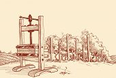 picture of wine-press  - Vineyard and old wooden press vector illustration - JPG