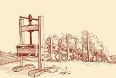 image of wine-press  - Vineyard and old wooden press vector illustration - JPG