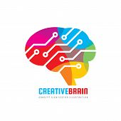 Abstract Human Brain - Business Vector Logo Template Concept Illustration. Creative Idea Sign. Elect poster