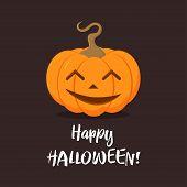 Cute Pumpkin For Halloween Feast, Cartoon Festive Vegetable On Dark Background, Card With Pumpkin Fo poster
