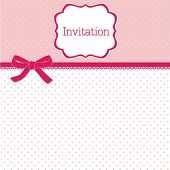 stock photo of wedding invitation  - Polka dot design with bow - JPG