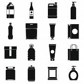 Packaging Items Icons Set. Simple Illustration Of 16 Packaging Items Icons For Web poster