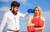Learn To Resist Punch. Couple In Love Boxing Gloves Sky Background. Man Punch Girl Boxing Glove. She poster