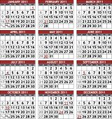 Classic calendar template for 2011 with official federal US holidays, weeks start on Sunday