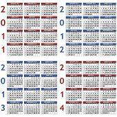 stock photo of thursday  - Four classic calendar templates for years 2011  - JPG