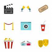 Movie Theater Icons Set. Flat Illustration Of 9 Movie Theater Icons For Web poster