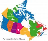 Colorful Canada map with provinces and capital cities