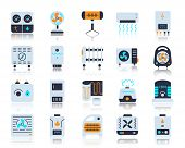 Hvac Flat Icons Set. Vector Sign Kit Of Climatic Equipment. Fan Pictogram Collection Includes Steam  poster