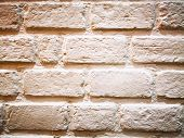 Home Decoration Concept And Abstract Background.many Brown Brick Blocks With White Cement. Closeup V poster