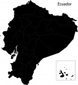 stock photo of guayaquil  - Black Ecuador map with province borders - JPG