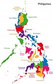 stock photo of luzon  - Map of Republic of the Philippines with the provinces colored in bright colors - JPG