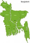 stock photo of bangla  - Bangladesh map with provinces and capital cities - JPG